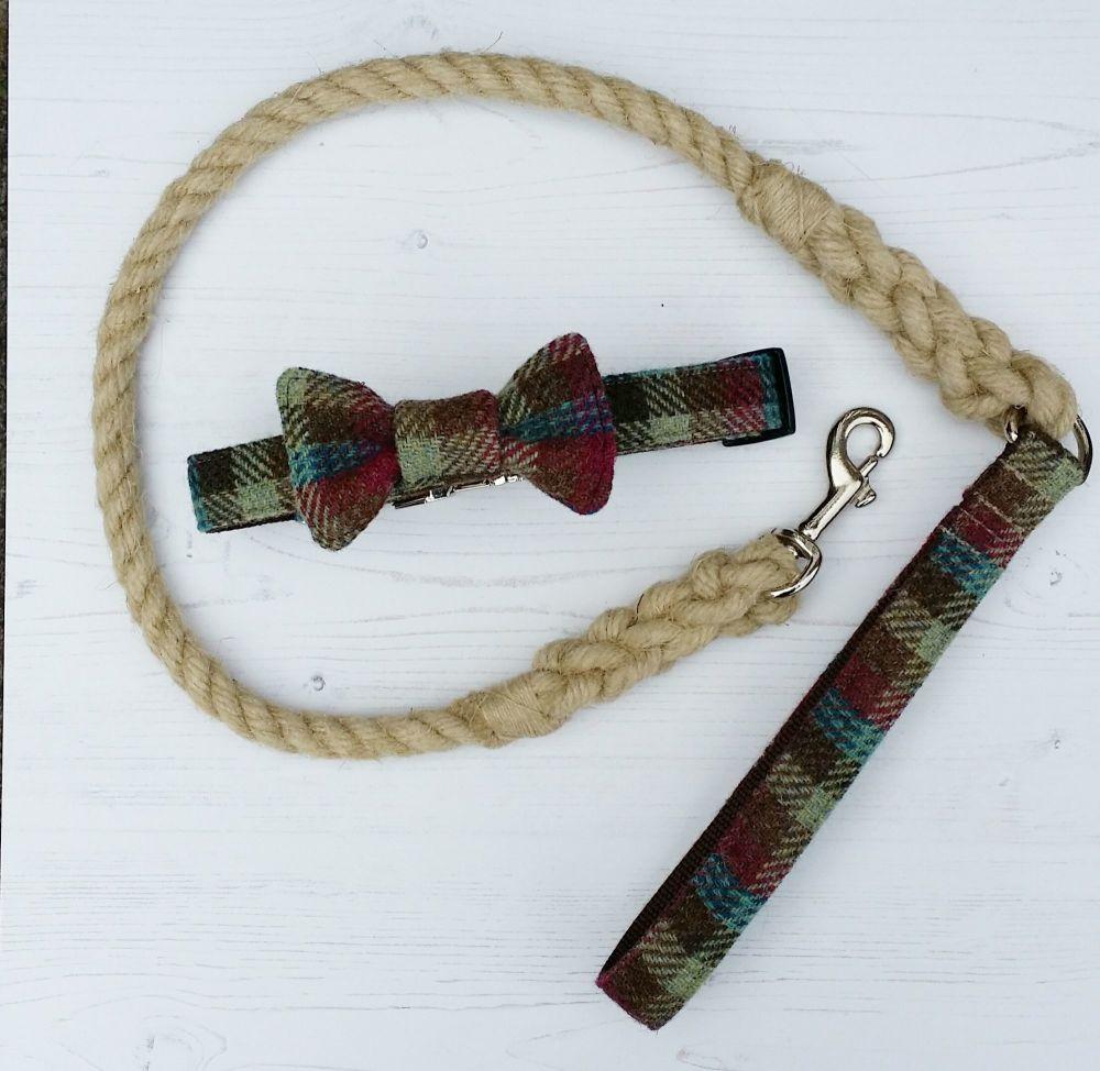 Hemp rope and harris tweed dog lead