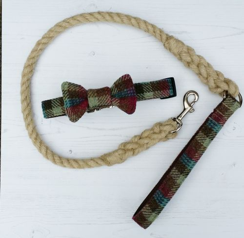 Hemp rope and harris tweed dog lead