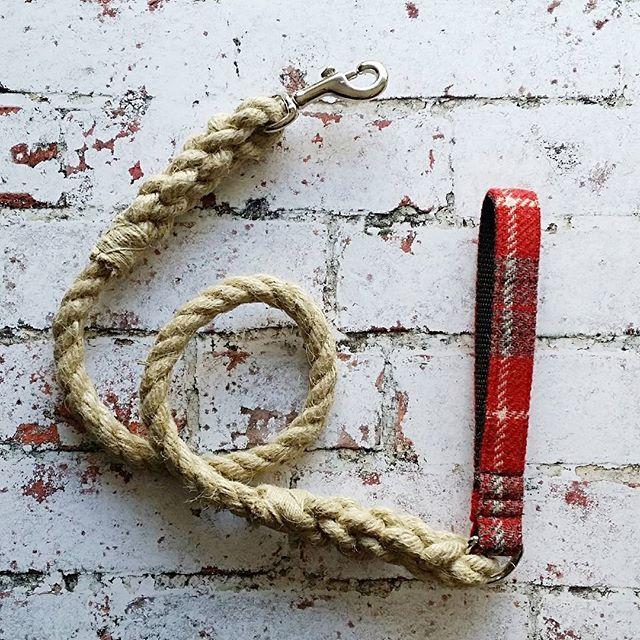 Hemp Rope and Harris Tweed handle Dog Lead