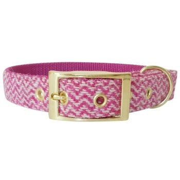 Harris Tweed Dog Collar Strawberries and Cream