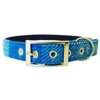 Harris Tweed Dog Collar Coastal Check