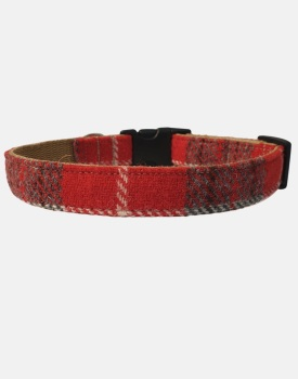 Harris Tweed Dog Collar Red and Grey Check