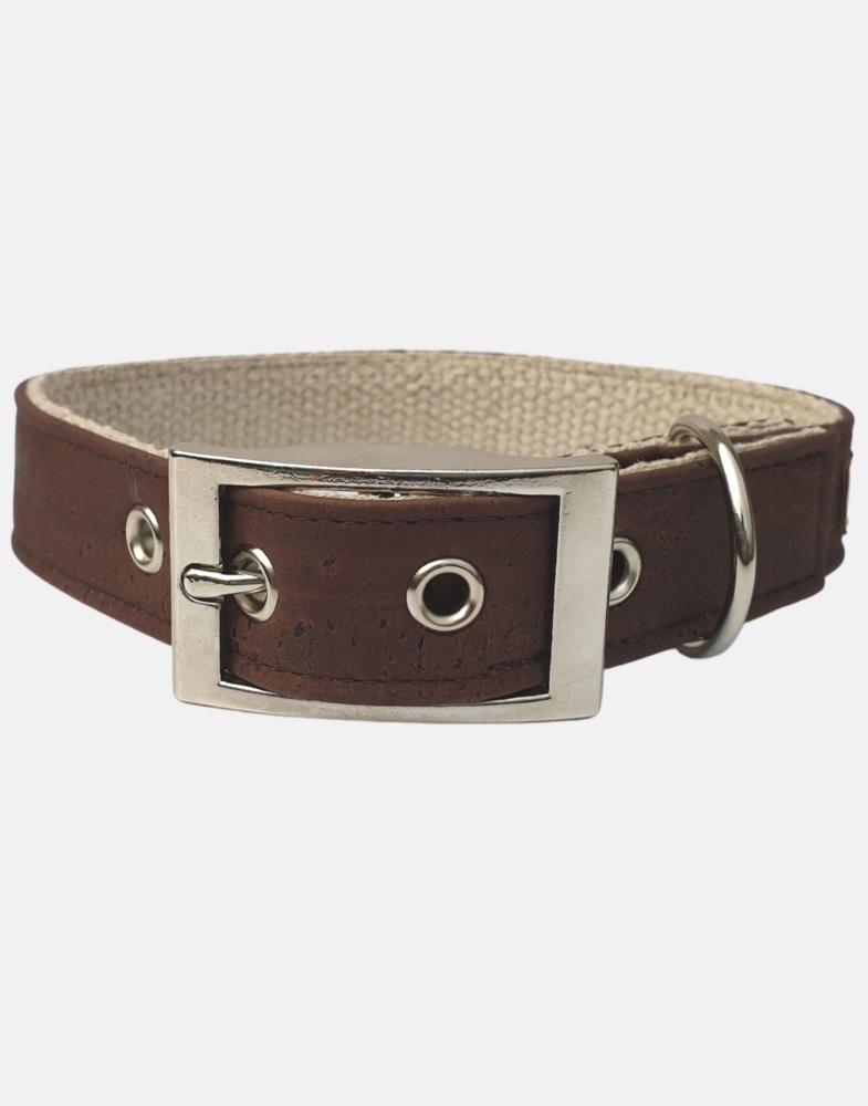 Cork and Organic Hemp Dog Collar Brown