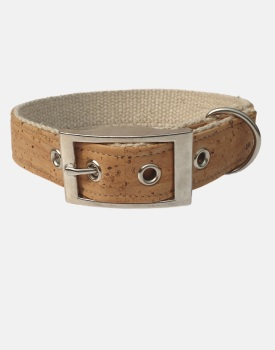 Cork and Organic and Hemp Dog Collar Tan