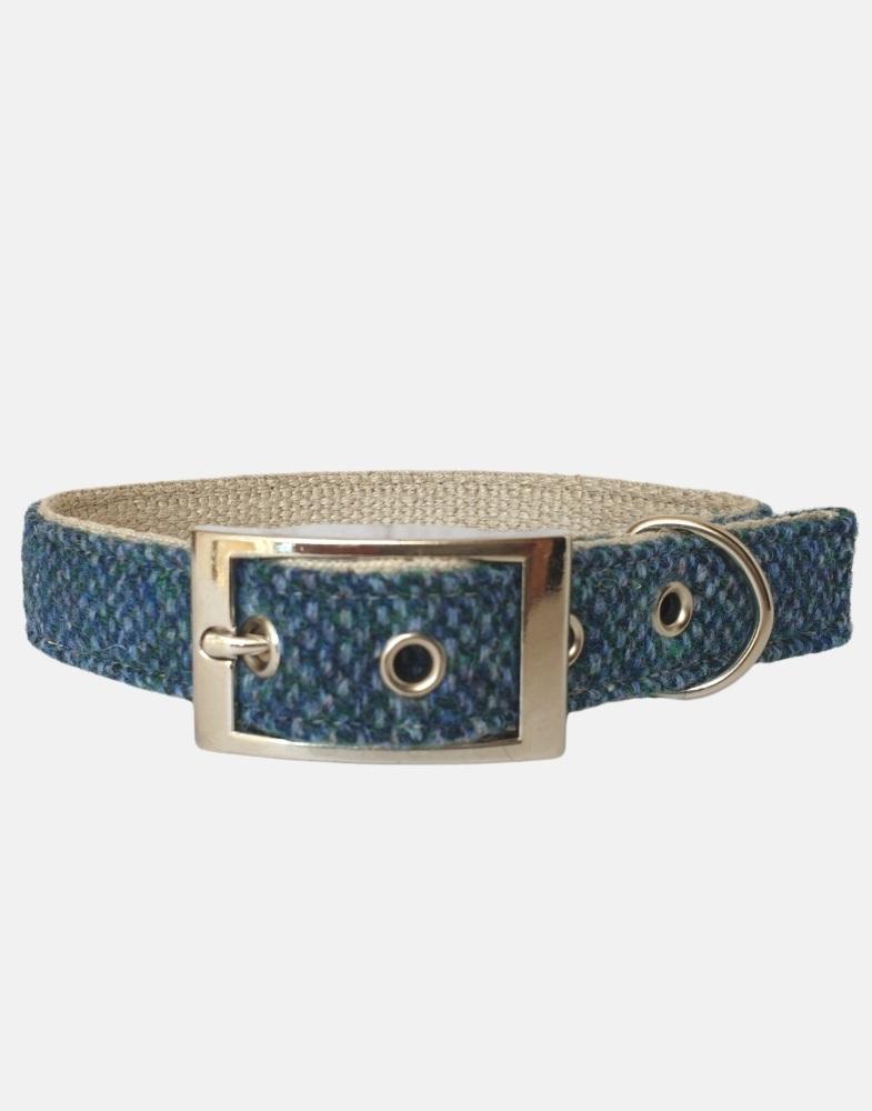Harris Tweed Blue Barleycorn Dog Collar