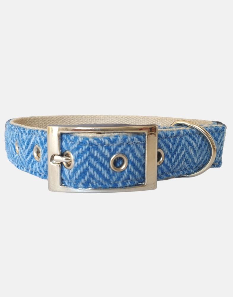 Harris Tweed Dog Collar Blue Herringbone