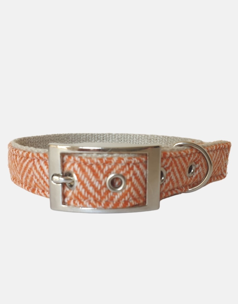 Harris Tweed Dog Collar Orange Herringbone