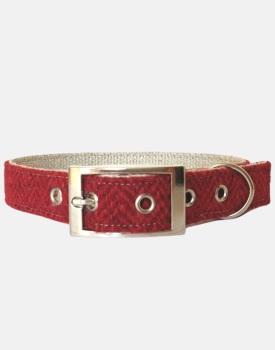 Harris Tweed Dog Collar Red Herringbone