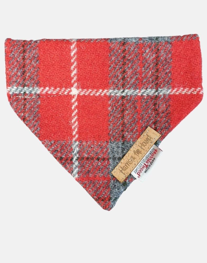 Harris Tweed Dog Bandana Red and Grey Check