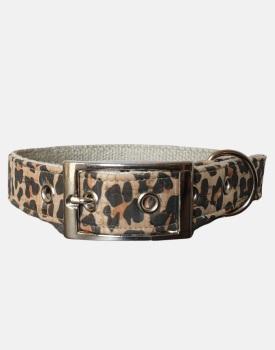 Cork and Organic Hemp Leopard Dog Collar
