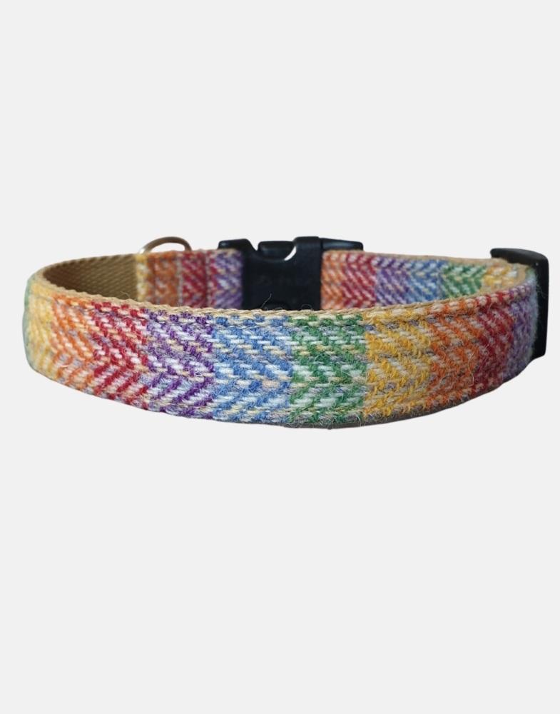 Harris Tweed Dog Collar Rainbow2