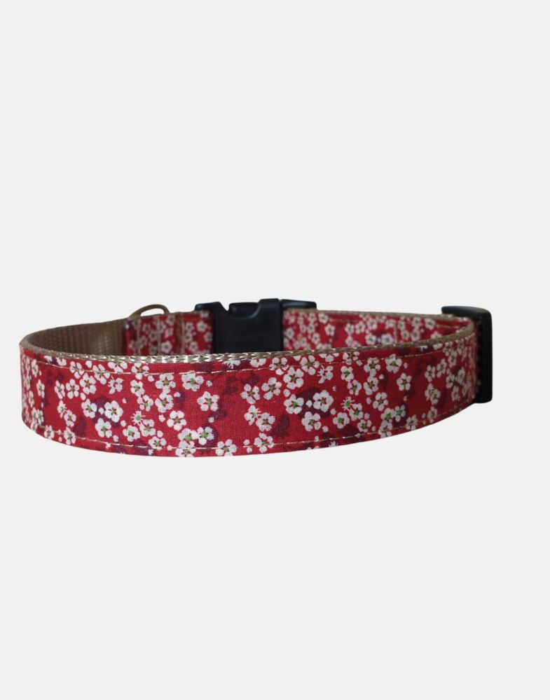 Liberty Design Dog Collar Red Blossoms