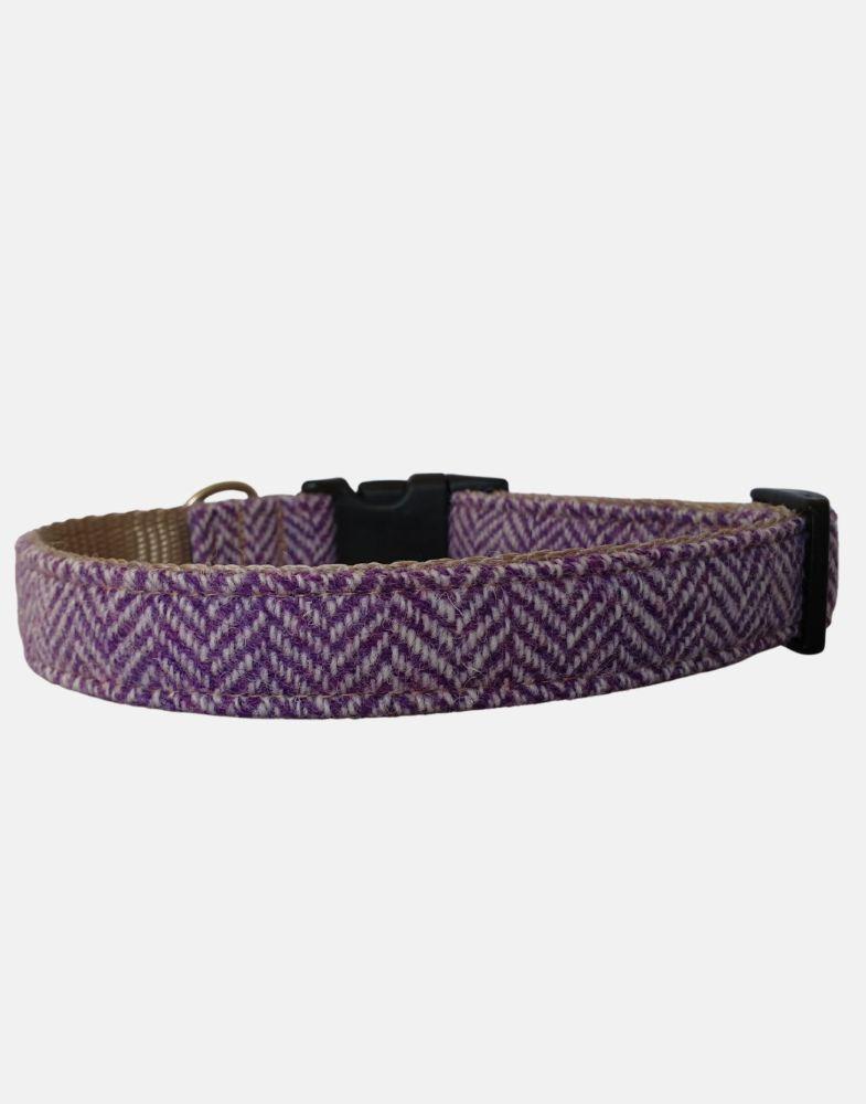 Harris Tweed Dog Collar Sport Edition Purple Herringbone