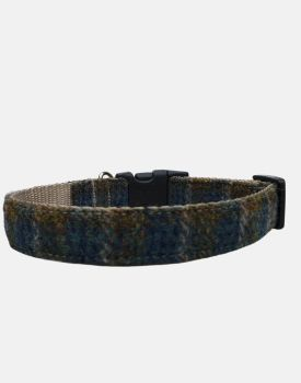 Harris Tweed Dog Collar Sport Edition Green Blue Check
