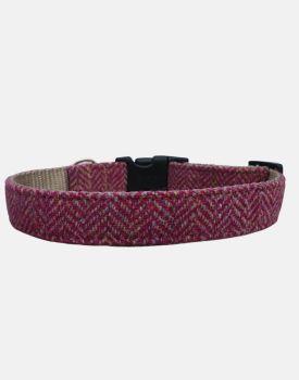 Harris Tweed Dog Collar Sport Edition Pink Grey Herringbone