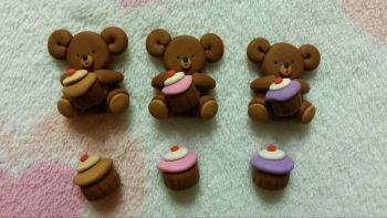 Pack of 3 Mini Bears with Cup-Cakes