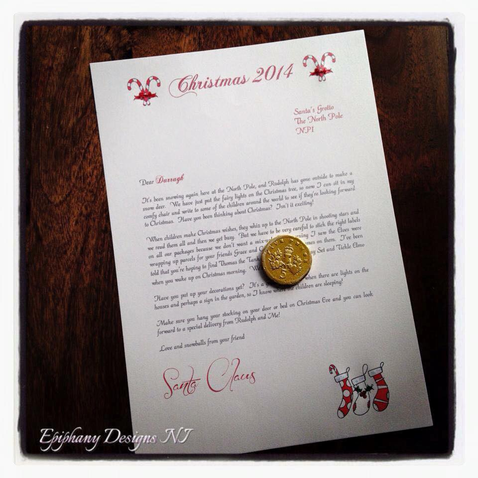 Personalised Letter from Santa with Chocolate coin