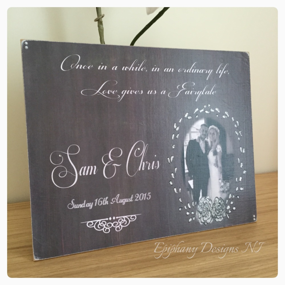 Chalkboard effect plaque with photo and quote