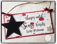 Sleeps until Santa Visits - personalised Star countdown plaque