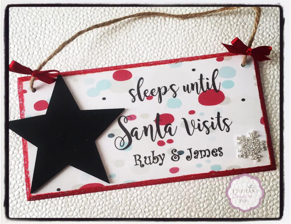 Sleeps until Santa Visits - personalised countdown plaque Star