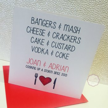Valentines Day card - Cooking up a storm - Personalised