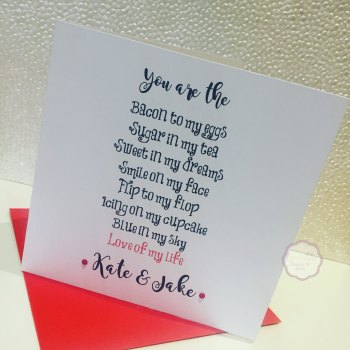 Valentines Day card - Love of my Life - Personalised