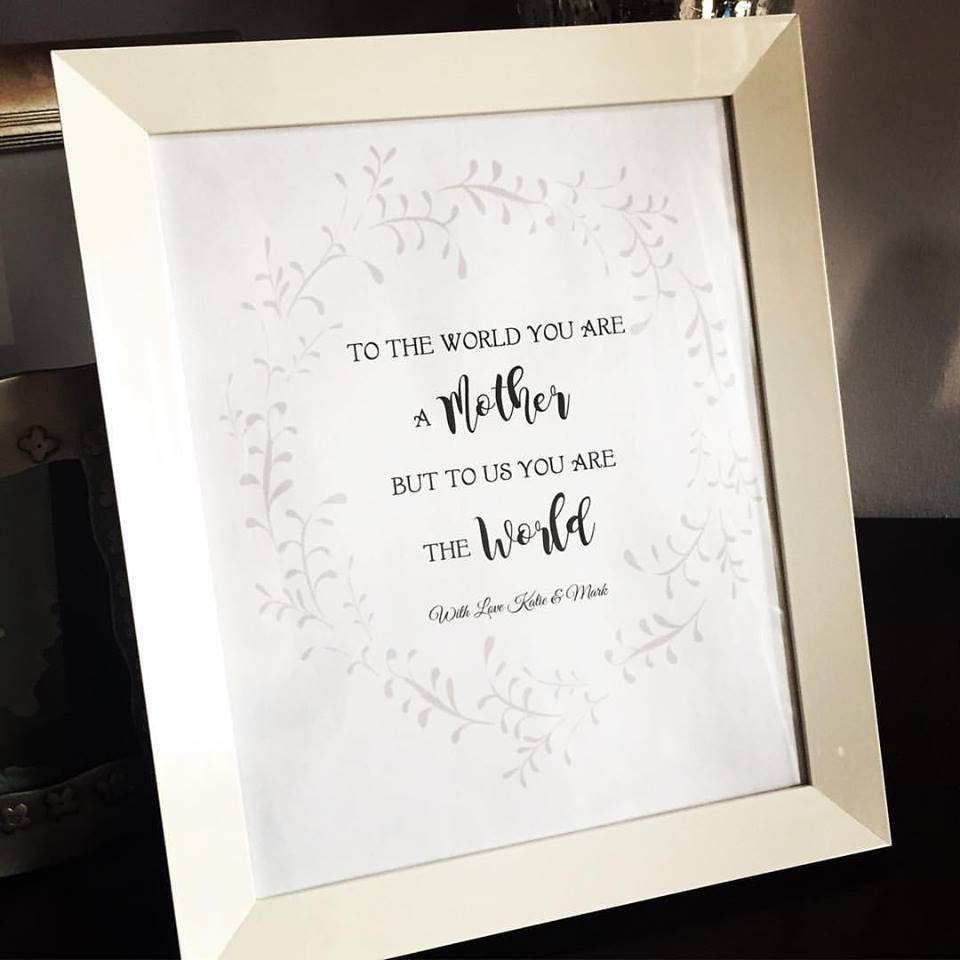 Print - Mother's Day quote - you are the world