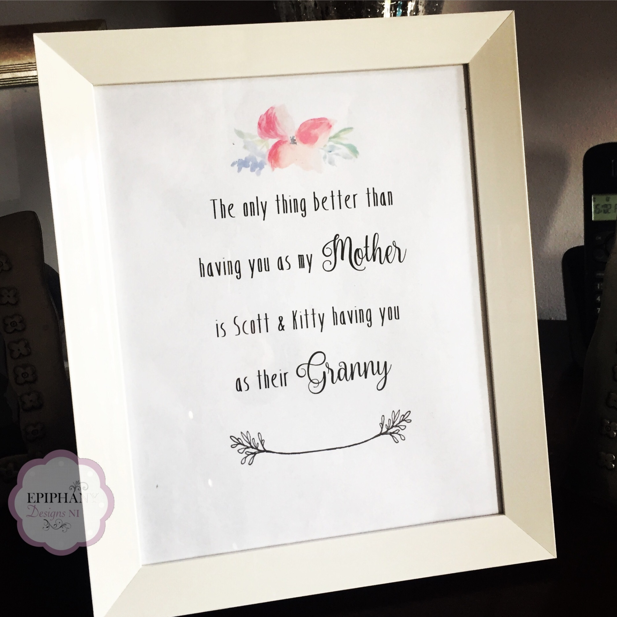Personalised Print - having you as my child's granny