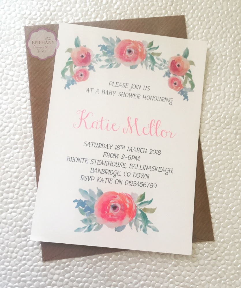 Baby Shower Invitation - Vintage Floral Design Pack 10