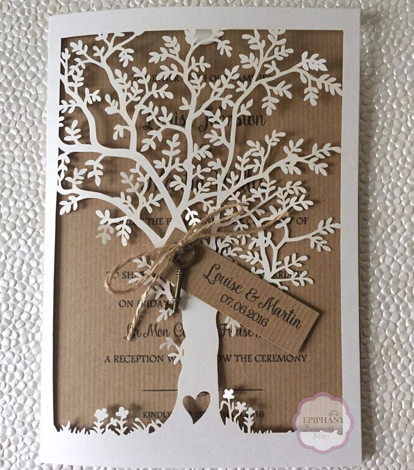 Rustic Lasercut Tree Wedding Invitationwith antique key