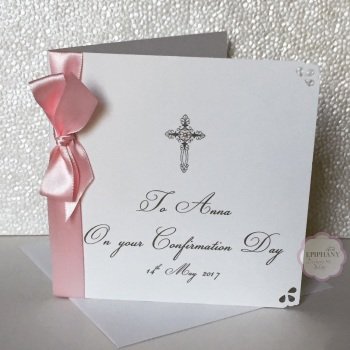 Chic Boutique Range Christening, Baptism, Communion / Confirmation Card with bow