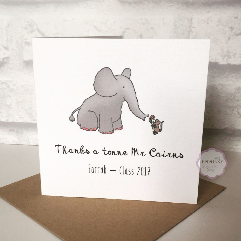 Teacher / Classroom Assistant Thank You Card - Thanks a Tonne