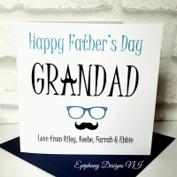 Fathers Day Card - Grandad - spectacles and moustache