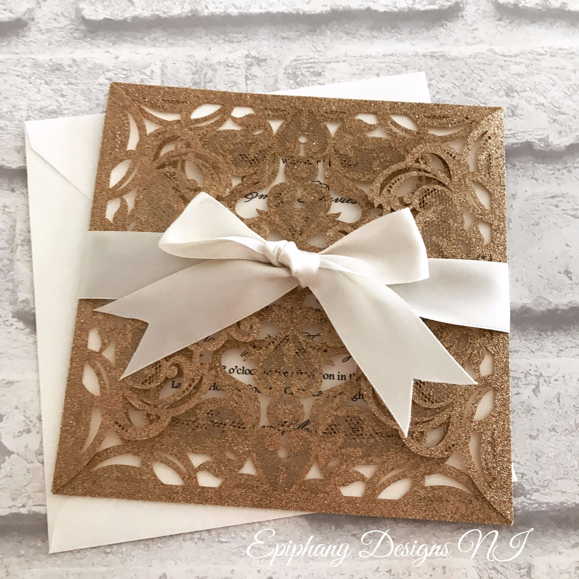 Rose Gold Lasercut Diamond Flap Wedding Invitation