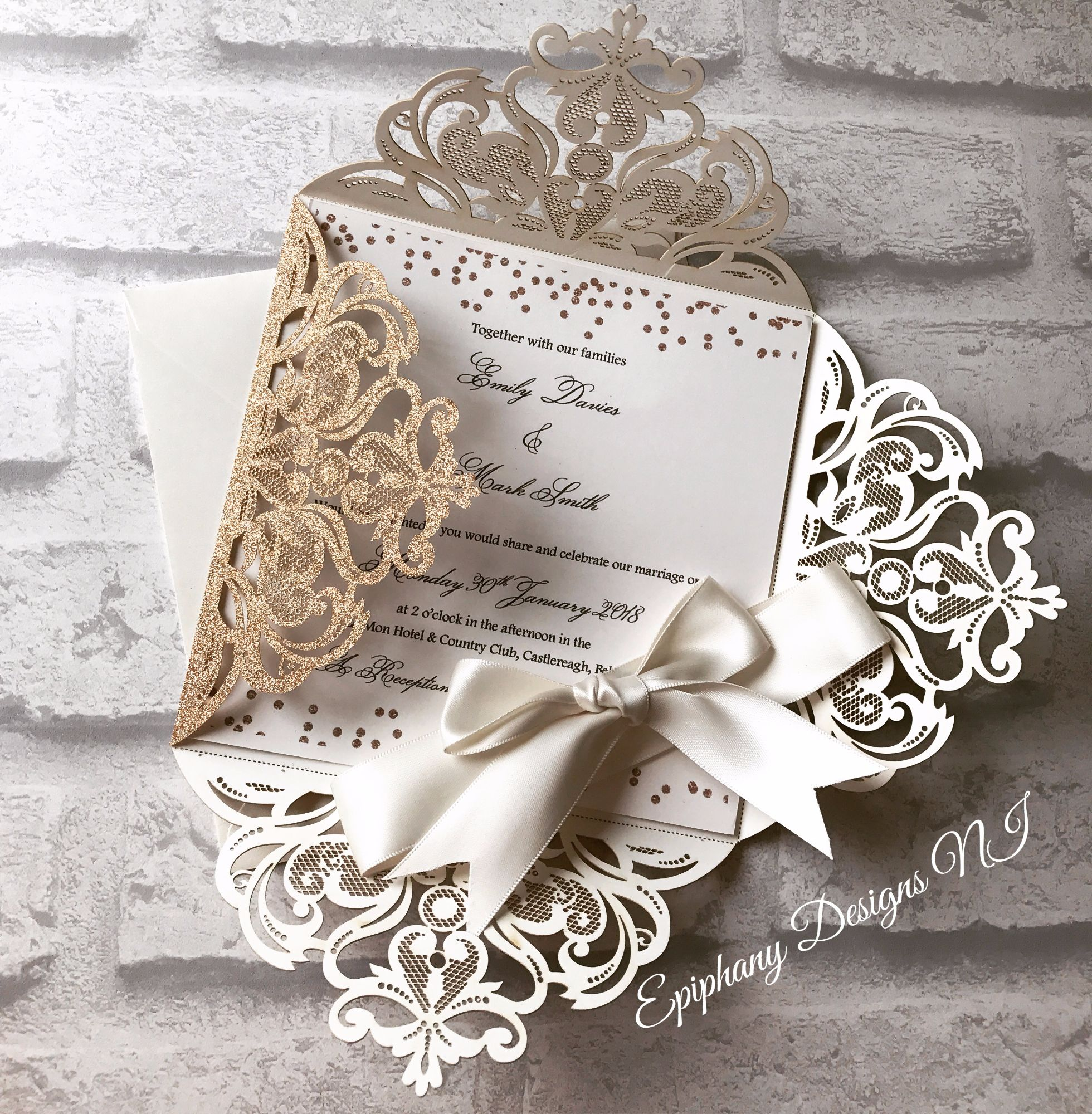Rose Gold Lasercut Diamond Flap Wedding Invitation-open