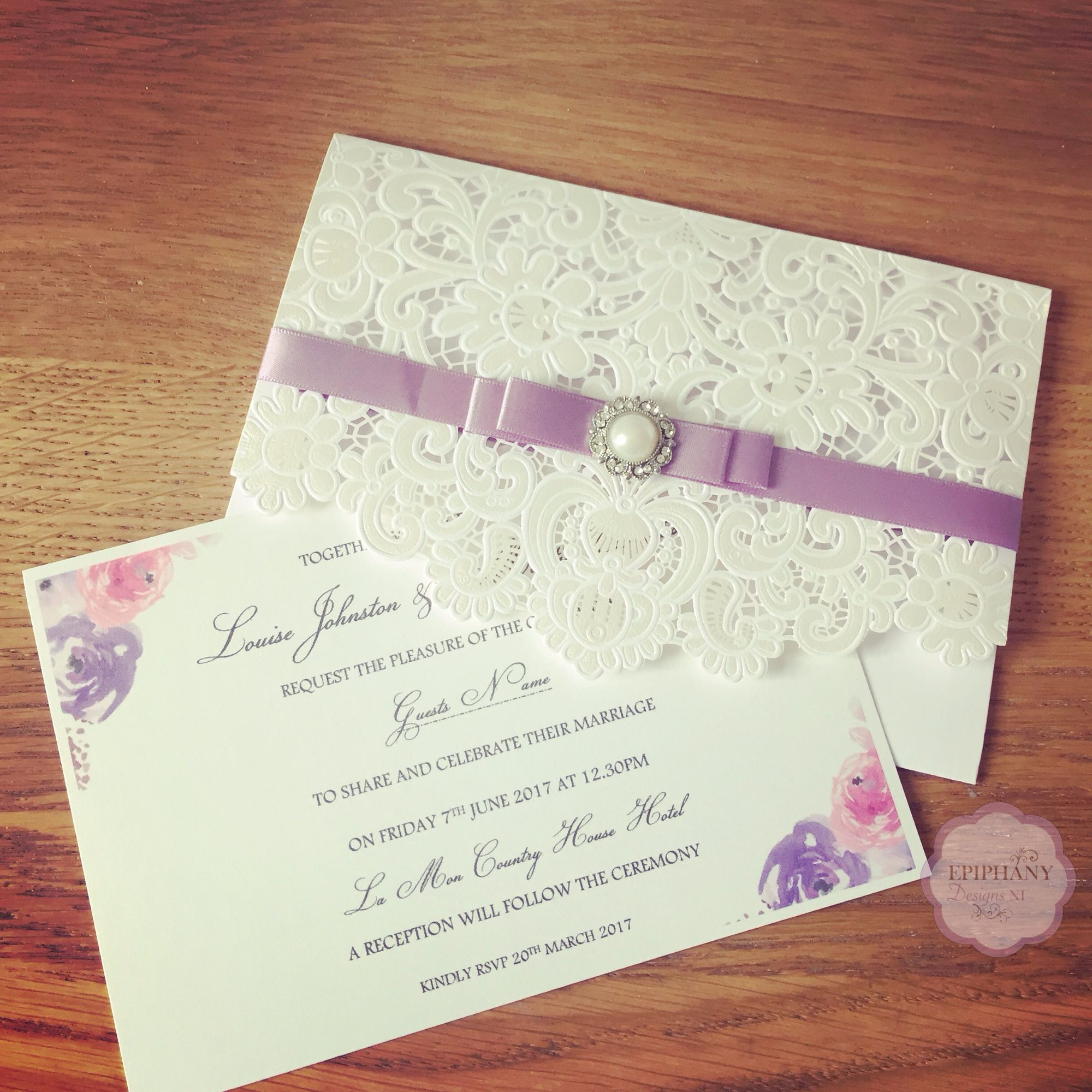 Sienna Range -Lasercut Pocket Wedding Invite with floral detail
