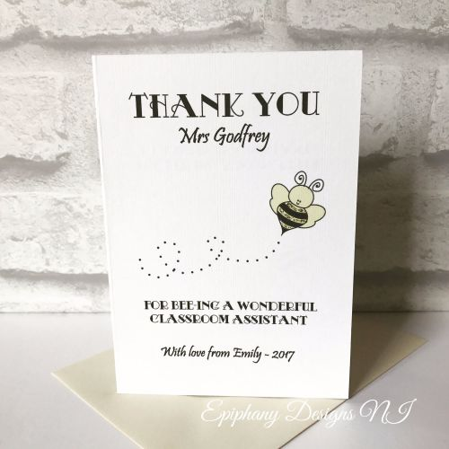 Teacher / Classroom Assistant Thank You Card - bee design