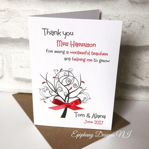 Teacher / Classroom Assistant Thank You Card - help me grow tree design