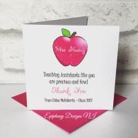 Teacher / Classroom Assistant Thank you Card Pink Apple