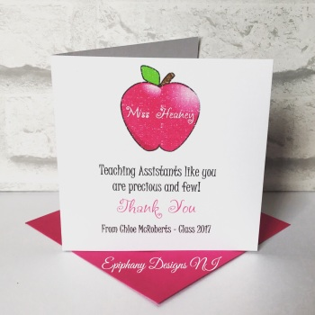 Teacher / Classroom Assistant Thank you Card Pink Apple