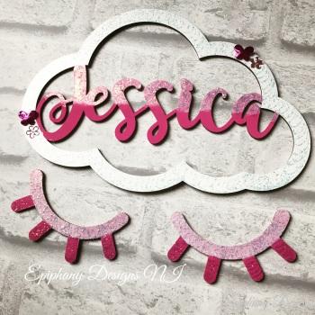 Name Cloud with Sleeping Eyelashes