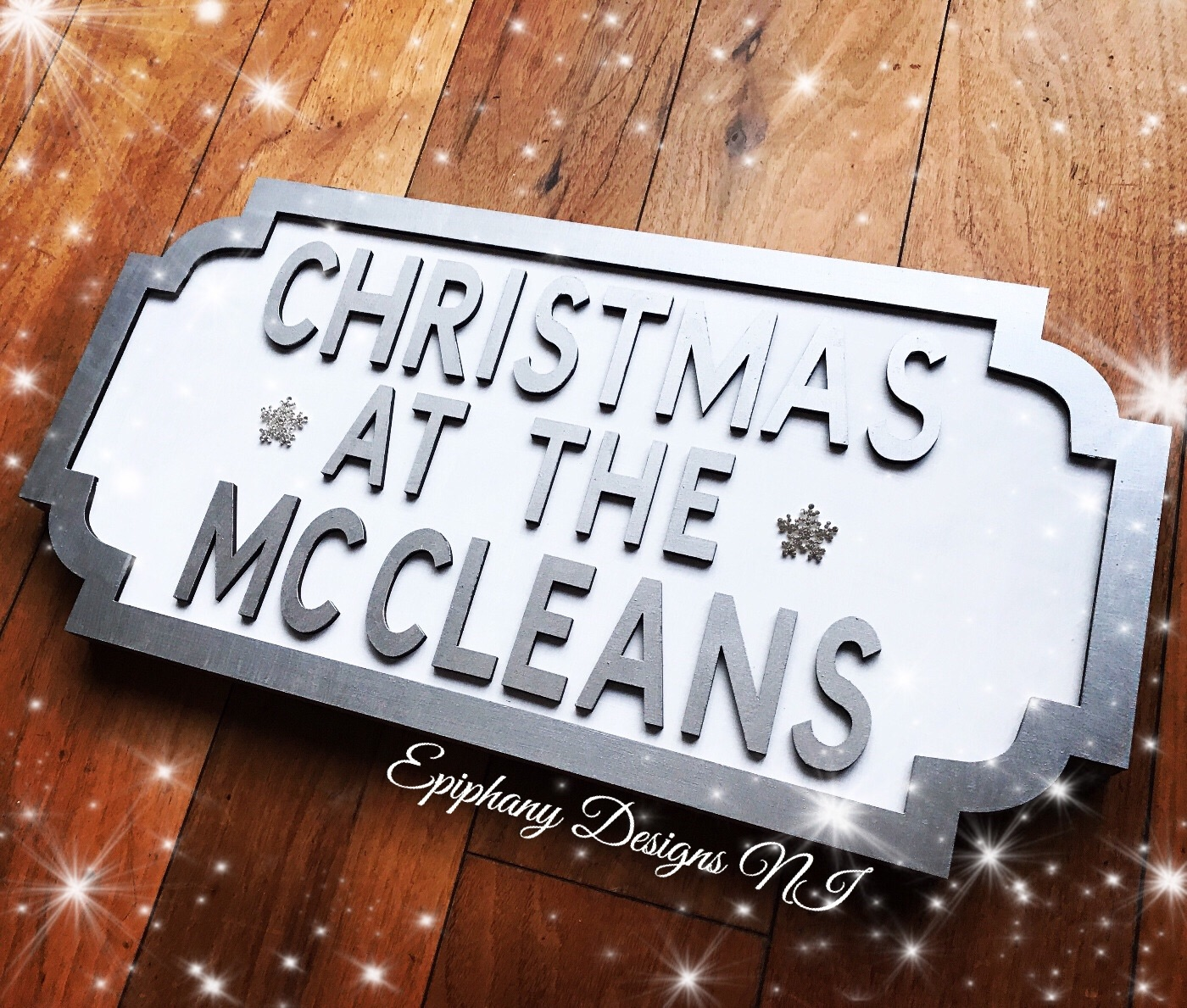 Christmas vintage street sign personalised - freestanding