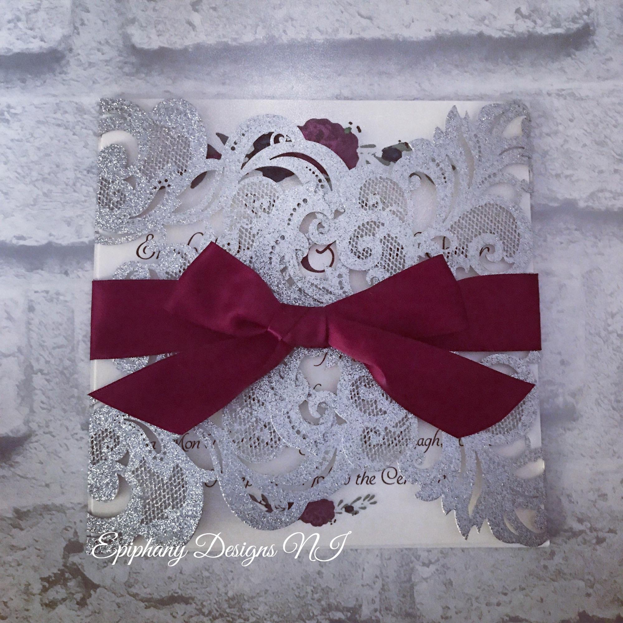 Silver Glitter Lasercut Gatefold Wedding Invitation