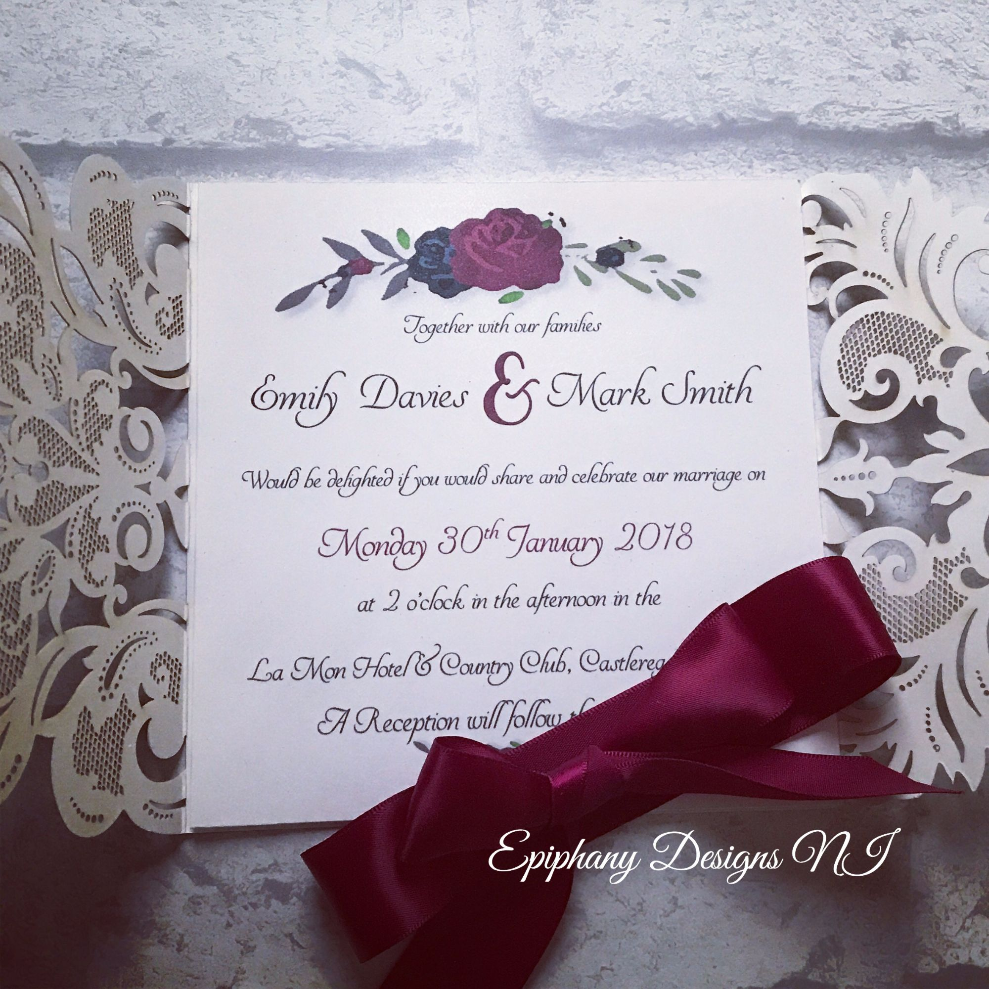Silver Glitter Lasercut Gatefold Wedding Invitation -open view