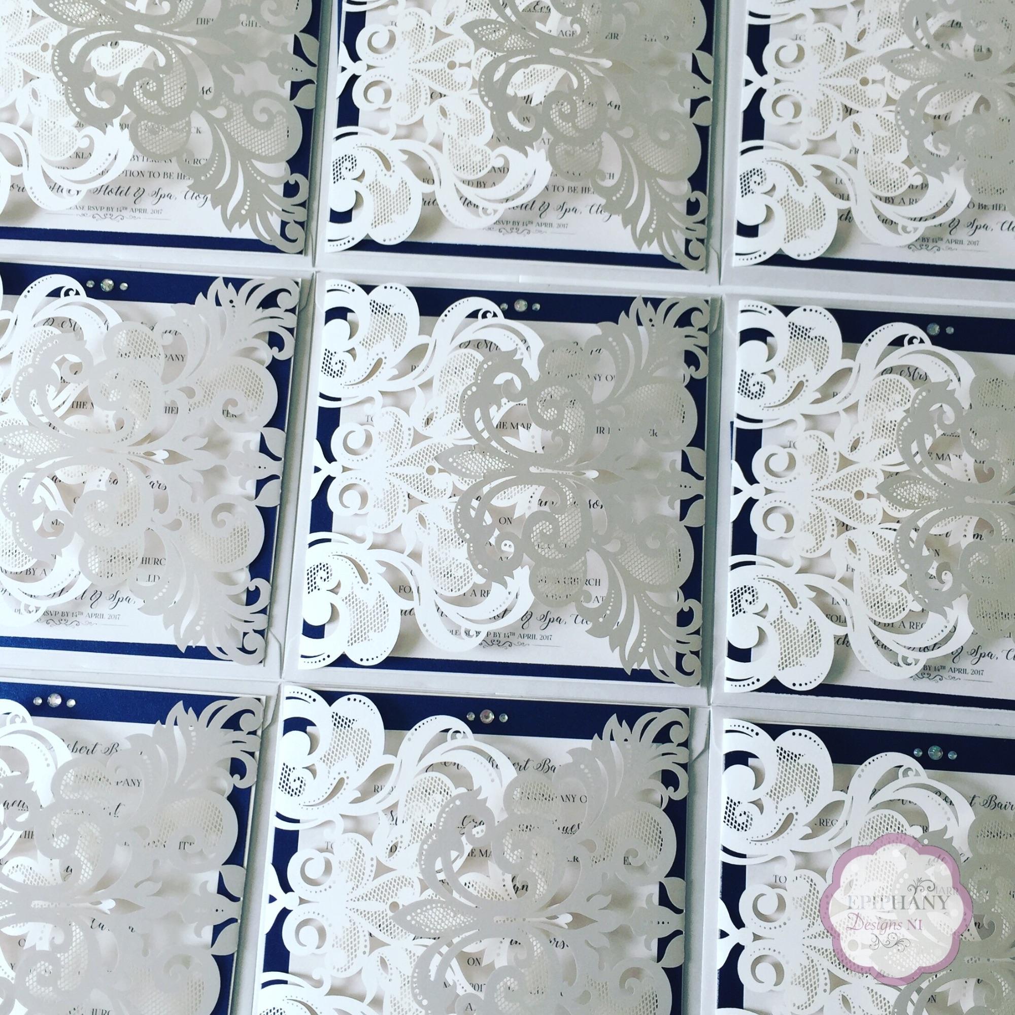 Lace Lasercut Gatefold invitation navy shimmer backing card