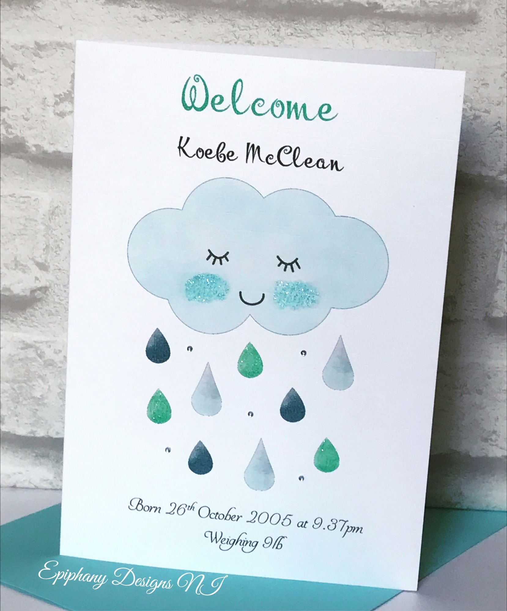 Sleepy Cloud New Baby Boy Card