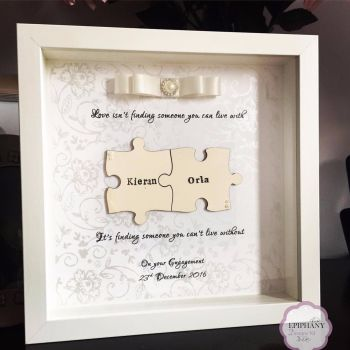 Jigsaw Box Frame - Personalised - Ivory tones