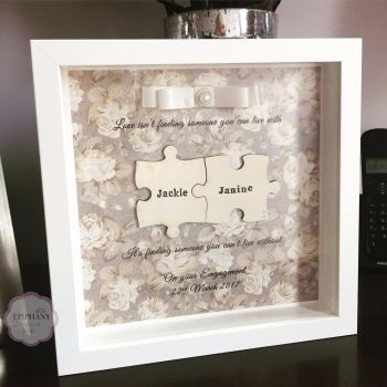 Jigsaw Box Frame - Personalised - Vintage Mink Rose Floral