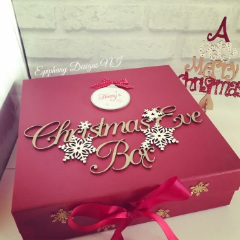 Personalised Red Christmas Eve Box - vintage font