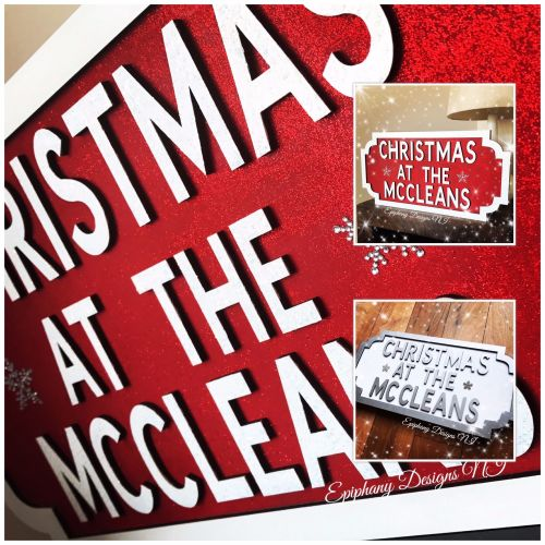 Christmas Vintage Wooden Street Sign - wall hanging